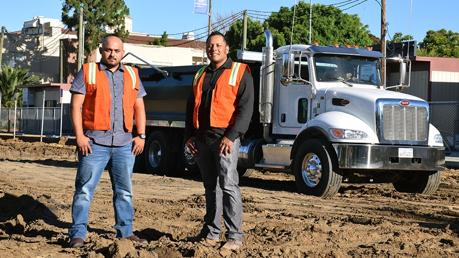 Junior Pineda (left) and Jose Aceituno have jump-started the growth of the family-run TEC Companies with a procurement strategy that has them rapidly growing their fleet of Peterbilt Model 348s. Aceituno's mother Veronica, sisters Maria and Gabriela and father Jose, Sr., also play important roles in the company.